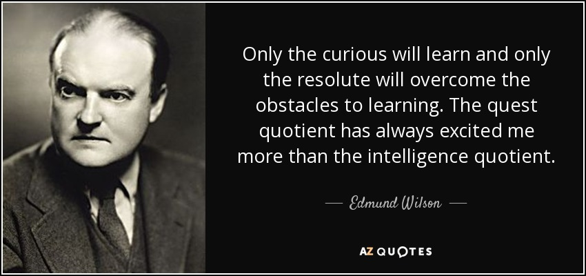 Only the curious will learn and only the resolute will overcome the obstacles to learning. The quest quotient has always excited me more than the intelligence quotient. - Edmund Wilson