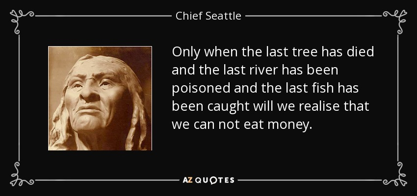 Only when the last tree has died and the last river has been poisoned and the last fish has been caught will we realise that we can not eat money. - Chief Seattle