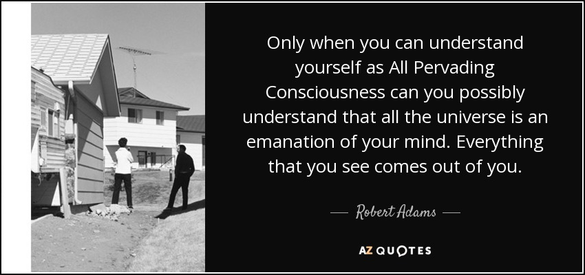 Only when you can understand yourself as All Pervading Consciousness can you possibly understand that all the universe is an emanation of your mind. Everything that you see comes out of you. - Robert Adams