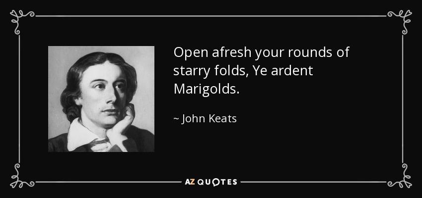 Open afresh your rounds of starry folds, Ye ardent Marigolds. - John Keats