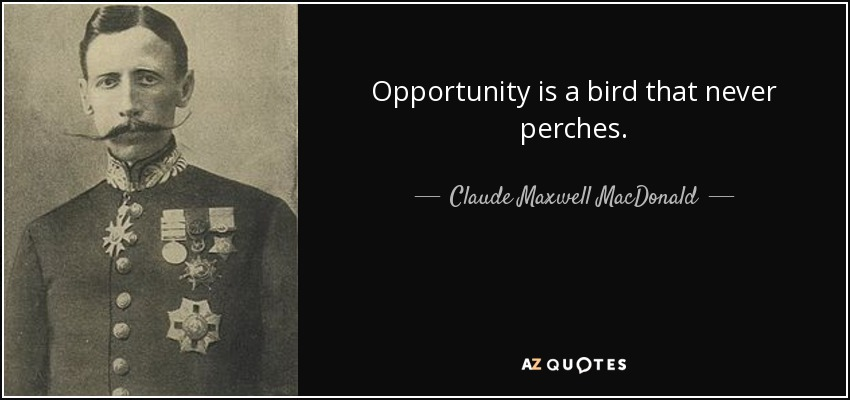 Opportunity is a bird that never perches. - Claude Maxwell MacDonald