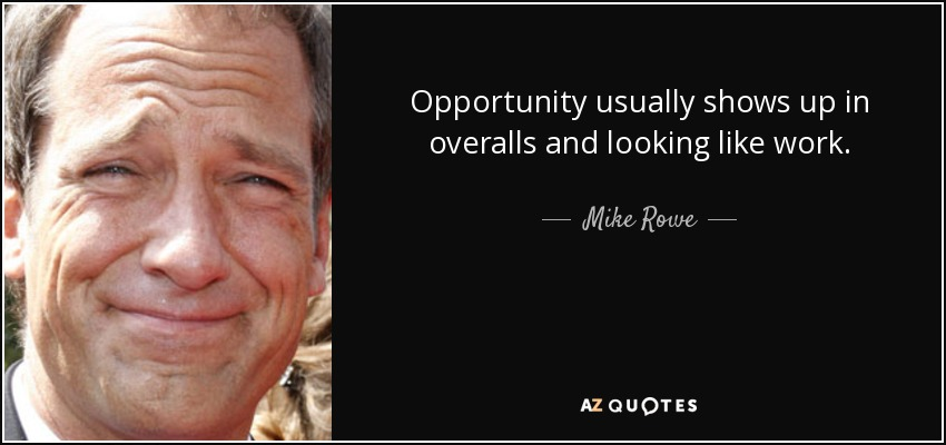 Opportunity usually shows up in overalls and looking like work. - Mike Rowe