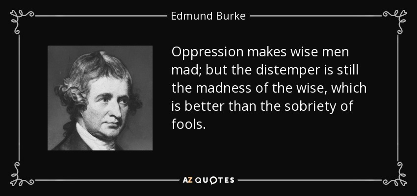 Oppression makes wise men mad; but the distemper is still the madness of the wise, which is better than the sobriety of fools. - Edmund Burke