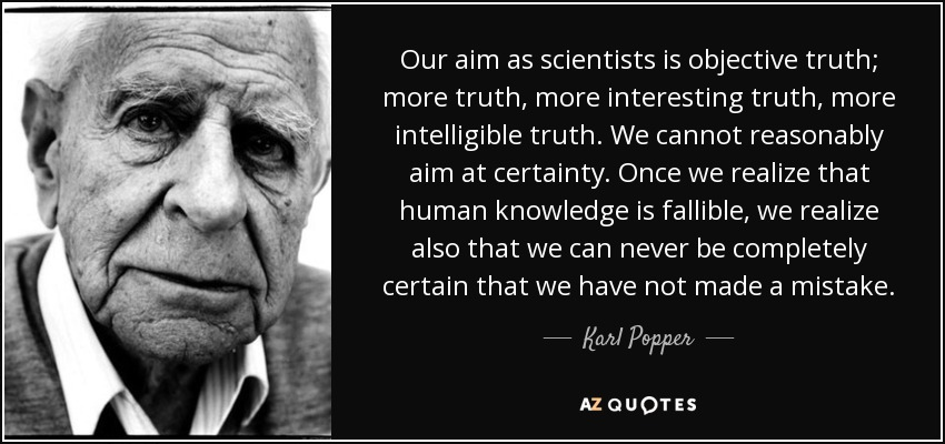 Our aim as scientists is objective truth; more truth, more interesting truth, more intelligible truth. We cannot reasonably aim at certainty. Once we realize that human knowledge is fallible, we realize also that we can never be completely certain that we have not made a mistake. - Karl Popper