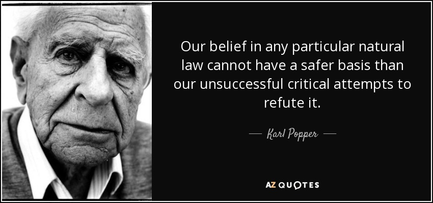 Our belief in any particular natural law cannot have a safer basis than our unsuccessful critical attempts to refute it. - Karl Popper