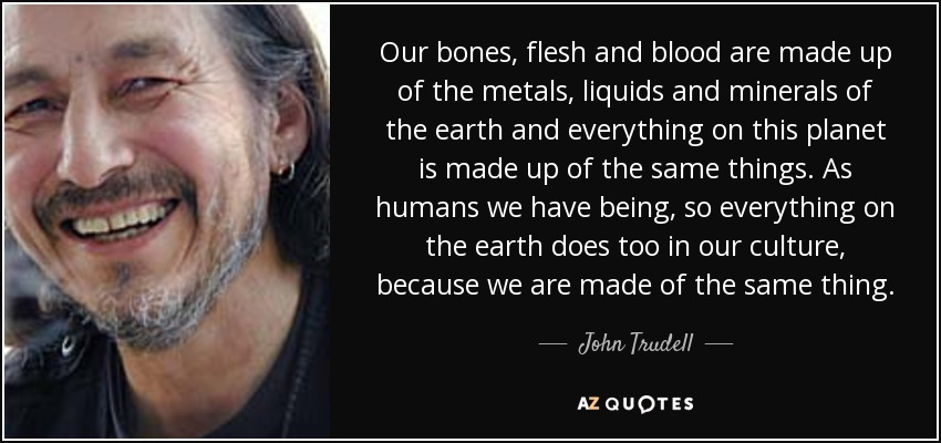 Our bones, flesh and blood are made up of the metals, liquids and minerals of the earth and everything on this planet is made up of the same things. As humans we have being, so everything on the earth does too in our culture, because we are made of the same thing. - John Trudell