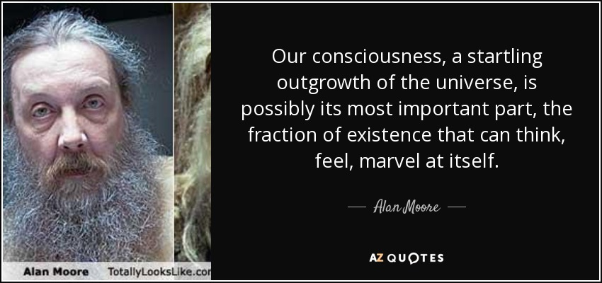 Our consciousness, a startling outgrowth of the universe, is possibly its most important part, the fraction of existence that can think, feel, marvel at itself. - Alan Moore