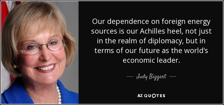Our dependence on foreign energy sources is our Achilles heel, not just in the realm of diplomacy, but in terms of our future as the world's economic leader. - Judy Biggert