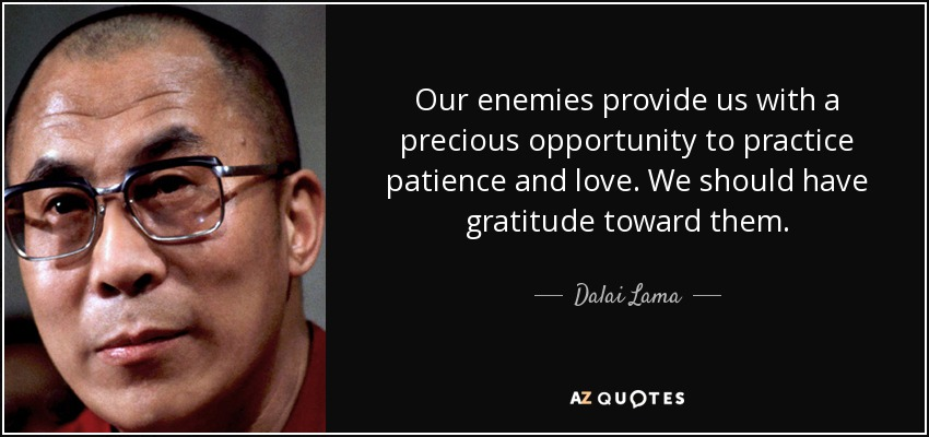 Our enemies provide us with a precious opportunity to practice patience and love. We should have gratitude toward them. - Dalai Lama