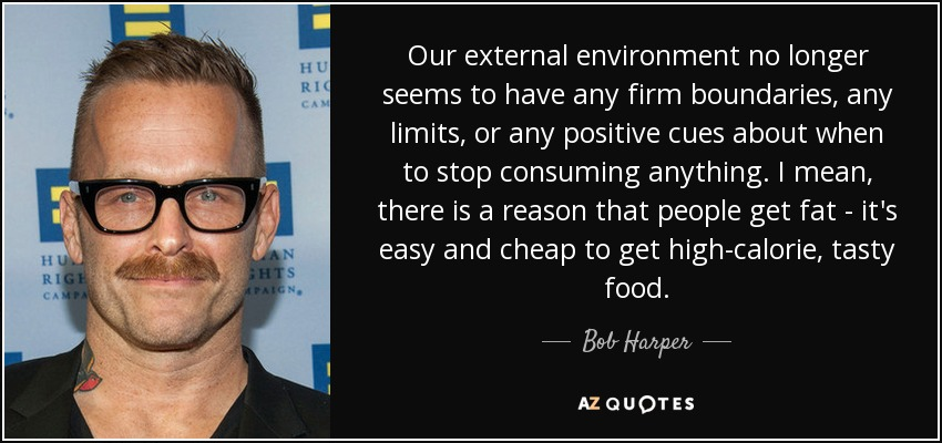 Our external environment no longer seems to have any firm boundaries, any limits, or any positive cues about when to stop consuming anything. I mean, there is a reason that people get fat - it's easy and cheap to get high-calorie, tasty food. - Bob Harper