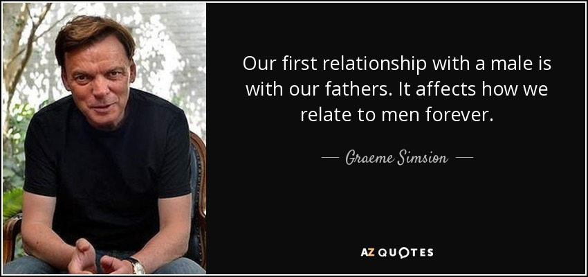 Our first relationship with a male is with our fathers. It affects how we relate to men forever. - Graeme Simsion