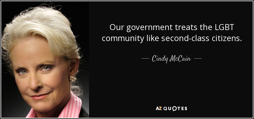 Our government treats the LGBT community like second-class citizens. - Cindy McCain