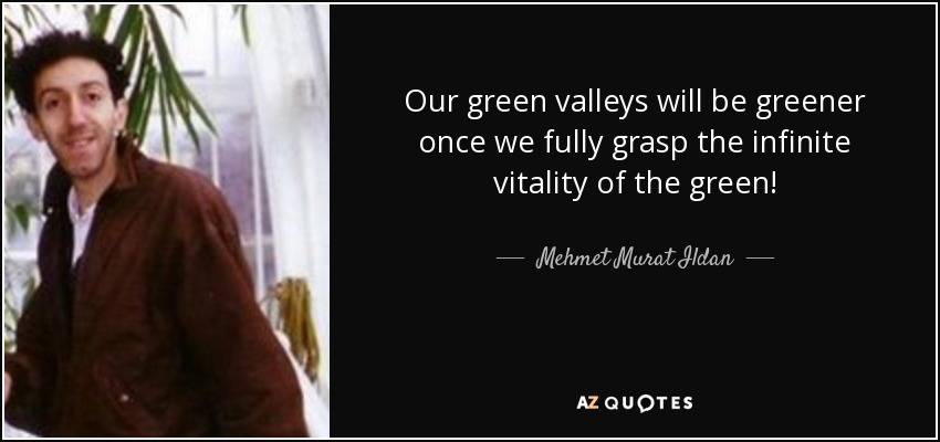 Our green valleys will be greener once we fully grasp the infinite vitality of the green! - Mehmet Murat Ildan