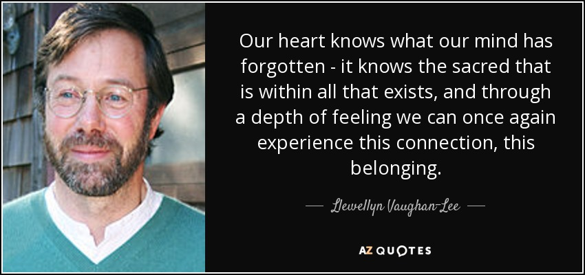 Our heart knows what our mind has forgotten - it knows the sacred that is within all that exists, and through a depth of feeling we can once again experience this connection, this belonging. - Llewellyn Vaughan-Lee