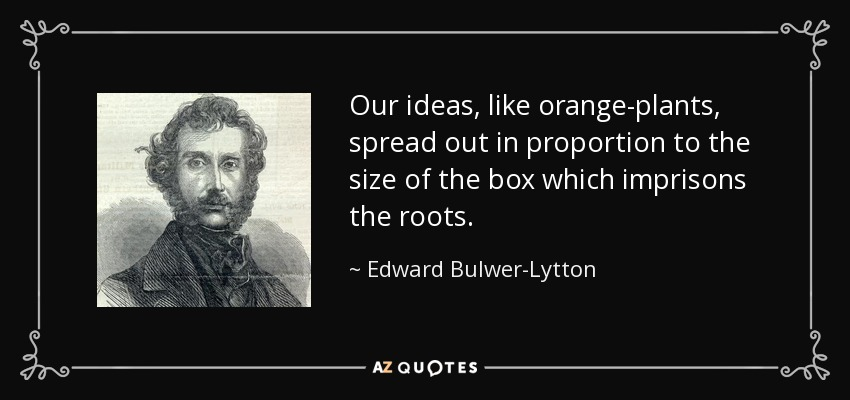 Our ideas, like orange-plants, spread out in proportion to the size of the box which imprisons the roots. - Edward Bulwer-Lytton, 1st Baron Lytton