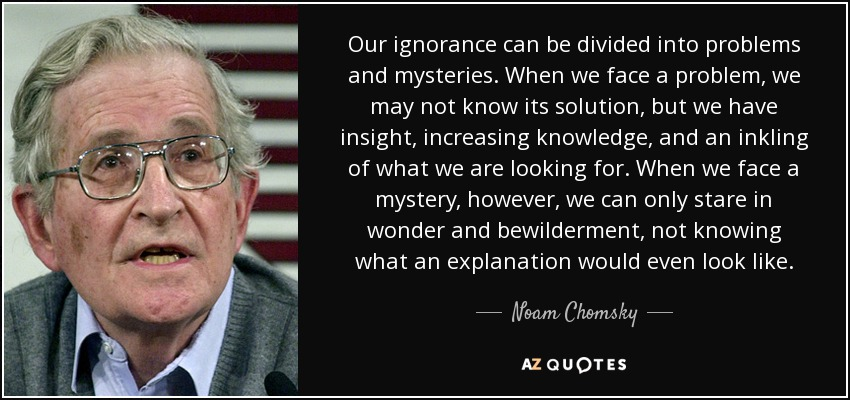 Our ignorance can be divided into problems and mysteries. When we face a problem, we may not know its solution, but we have insight, increasing knowledge, and an inkling of what we are looking for. When we face a mystery, however, we can only stare in wonder and bewilderment, not knowing what an explanation would even look like. - Noam Chomsky