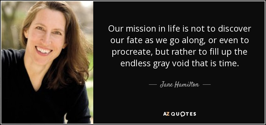 Our mission in life is not to discover our fate as we go along, or even to procreate, but rather to fill up the endless gray void that is time. - Jane Hamilton