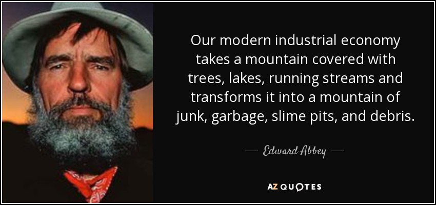 Our modern industrial economy takes a mountain covered with trees, lakes, running streams and transforms it into a mountain of junk, garbage, slime pits, and debris. - Edward Abbey