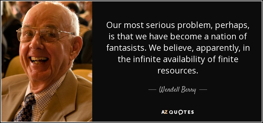 Our most serious problem, perhaps, is that we have become a nation of fantasists. We believe, apparently, in the infinite availability of finite resources. - Wendell Berry