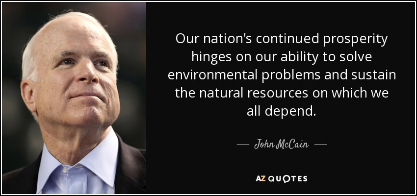 Our nation's continued prosperity hinges on our ability to solve environmental problems and sustain the natural resources on which we all depend. - John McCain