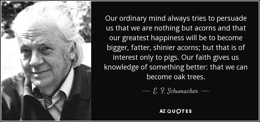 Our ordinary mind always tries to persuade us that we are nothing but acorns and that our greatest happiness will be to become bigger, fatter, shinier acorns; but that is of interest only to pigs. Our faith gives us knowledge of something better: that we can become oak trees. - E. F. Schumacher