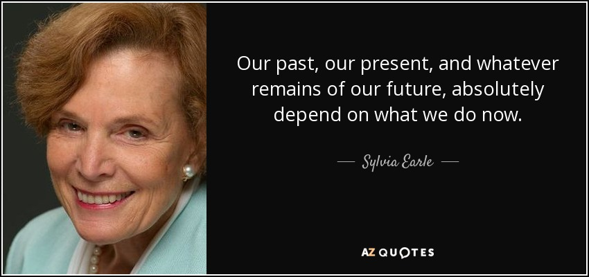 Our past, our present, and whatever remains of our future, absolutely depend on what we do now. - Sylvia Earle
