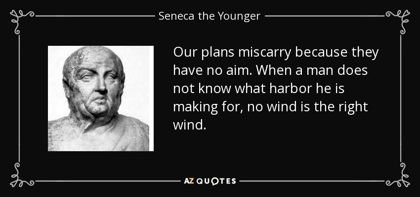 Our plans miscarry because they have no aim. When a man does not know what harbor he is making for, no wind is the right wind. - Seneca the Younger