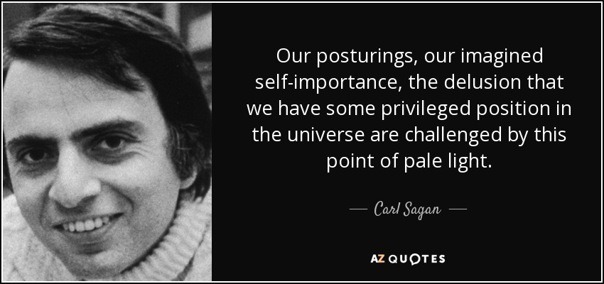 Our posturings, our imagined self-importance , the delusion that we have some privileged position in the universe are challenged by this point of pale light. - Carl Sagan