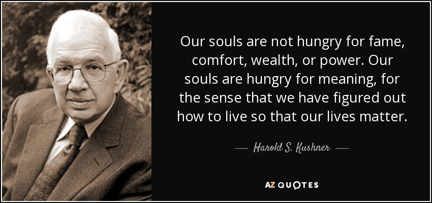 Our souls are not hungry for fame, comfort, wealth, or power. Our souls are hungry for meaning, for the sense that we have figured out how to live so that our lives matter. - Harold S. Kushner