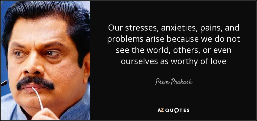 Our stresses, anxieties, pains, and problems arise because we do not see the world, others, or even ourselves as worthy of love - Prem Prakash