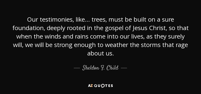 Our testimonies, like . . . trees, must be built on a sure foundation, deeply rooted in the gospel of Jesus Christ, so that when the winds and rains come into our lives, as they surely will, we will be strong enough to weather the storms that rage about us. - Sheldon F. Child
