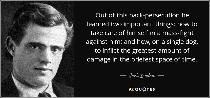 Out of this pack-persecution he learned two important things: how to take care of himself in a mass-fight against him; and how, on a single dog, to inflict the greatest amount of damage in the briefest space of time. - Jack London