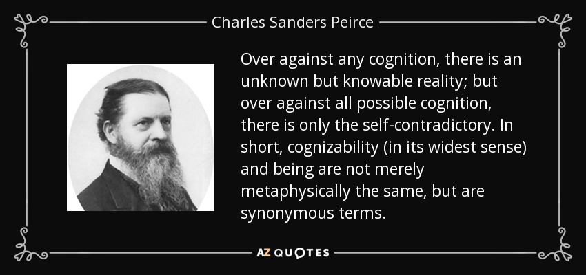 Over against any cognition, there is an unknown but knowable reality; but over against all possible cognition, there is only the self-contradictory. In short, cognizability (in its widest sense) and being are not merely metaphysically the same, but are synonymous terms. - Charles Sanders Peirce