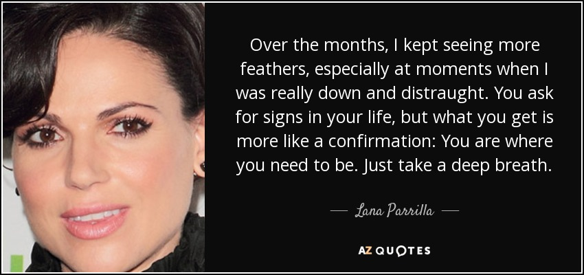Over the months, I kept seeing more feathers, especially at moments when I was really down and distraught. You ask for signs in your life, but what you get is more like a confirmation: You are where you need to be. Just take a deep breath. - Lana Parrilla