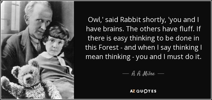 Owl,' said Rabbit shortly, 'you and I have brains. The others have fluff. If there is easy thinking to be done in this Forest - and when I say thinking I mean thinking - you and I must do it. - A. A. Milne