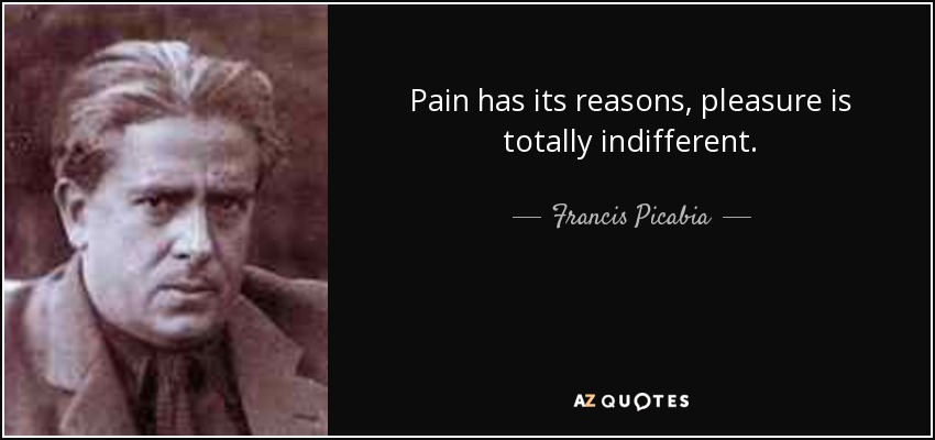Pain has its reasons, pleasure is totally indifferent. - Francis Picabia