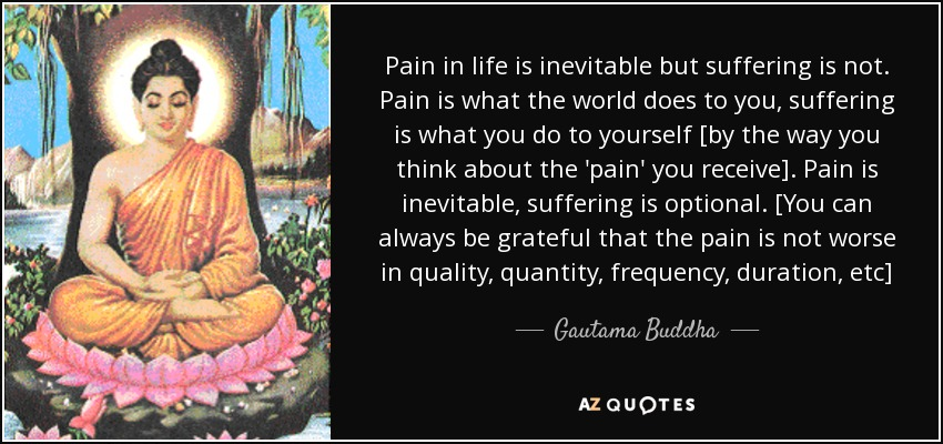 Pain in life is inevitable but suffering is not. Pain is what the world does to you, suffering is what you do to yourself [by the way you think about the 'pain' you receive]. Pain is inevitable, suffering is optional. [You can always be grateful that the pain is not worse in quality, quantity, frequency, duration, etc] - Gautama Buddha