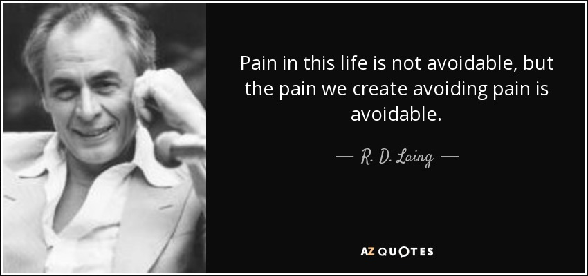 Pain in this life is not avoidable, but the pain we create avoiding pain is avoidable. - R. D. Laing