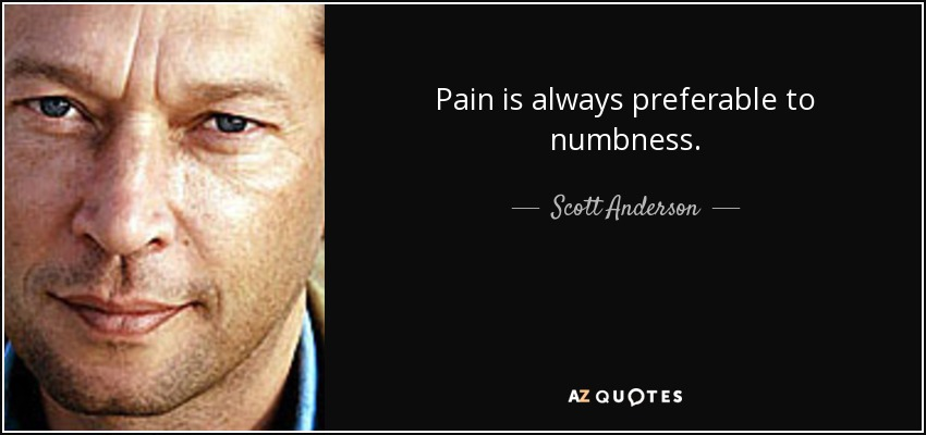 Pain is always preferable to numbness. - Scott Anderson