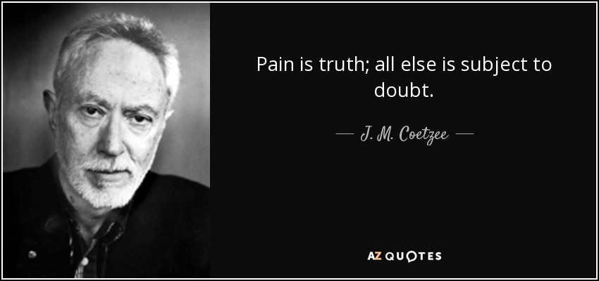 Pain is truth; all else is subject to doubt. - J. M. Coetzee