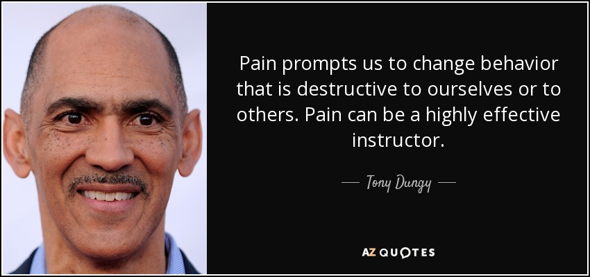 Pain prompts us to change behavior that is destructive to ourselves or to others. Pain can be a highly effective instructor. - Tony Dungy