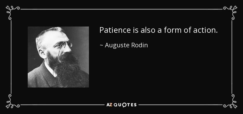 Patience is also a form of action. - Auguste Rodin