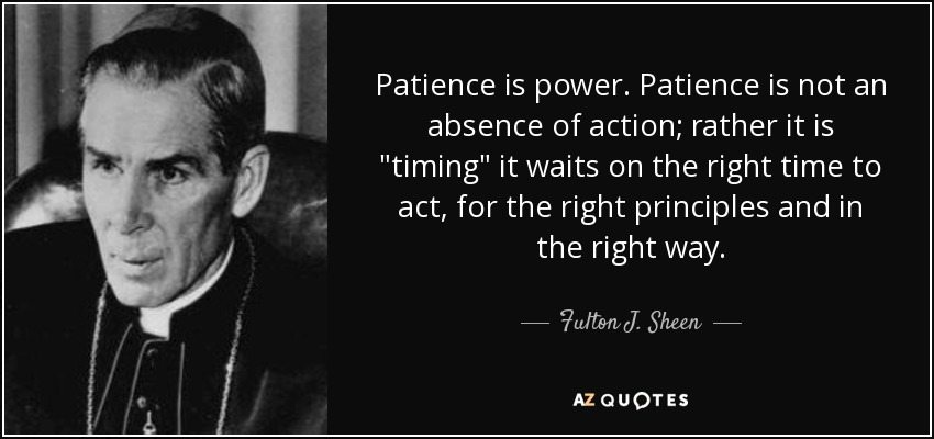 Patience is power. Patience is not an absence of action; rather it is