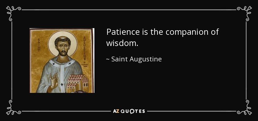 Patience is the companion of wisdom. - Saint Augustine