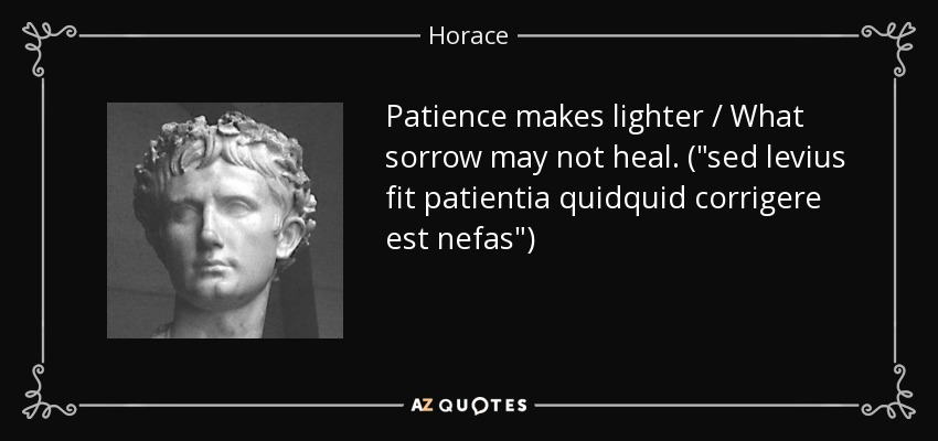 Patience makes lighter / What sorrow may not heal. (