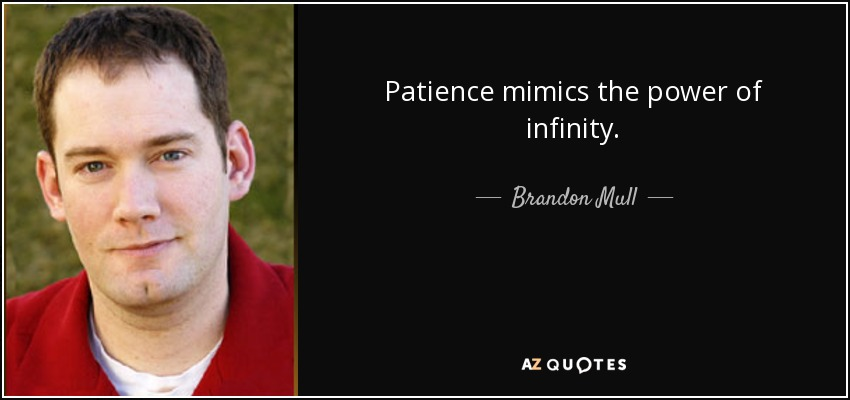 Patience mimics the power of infinity. - Brandon Mull
