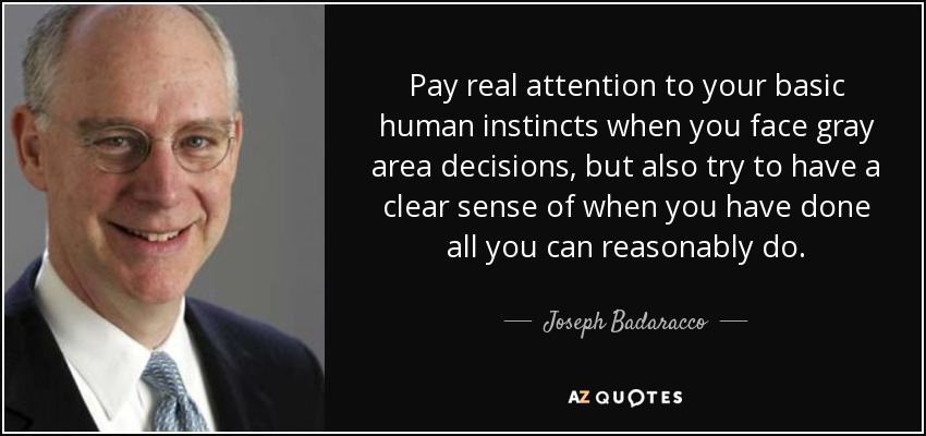Pay real attention to your basic human instincts when you face gray area decisions, but also try to have a clear sense of when you have done all you can reasonably do. - Joseph Badaracco