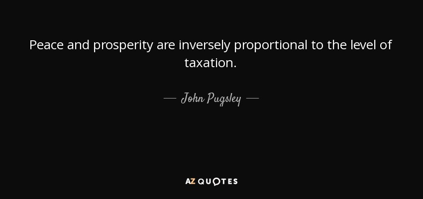 John Pugsley Quote Peace And Prosperity Are Inversely Proportional