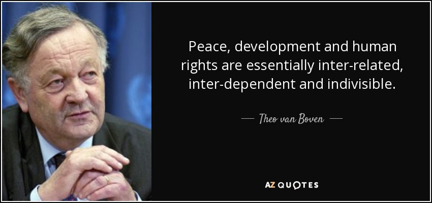 Peace, development and human rights are essentially inter-related, inter-dependent and indivisible. - Theo van Boven