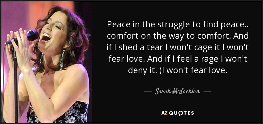 Peace in the struggle to find peace.. comfort on the way to comfort. And if I shed a tear I won't cage it I won't fear love. And if I feel a rage I won't deny it. (I won't fear love. - Sarah McLachlan